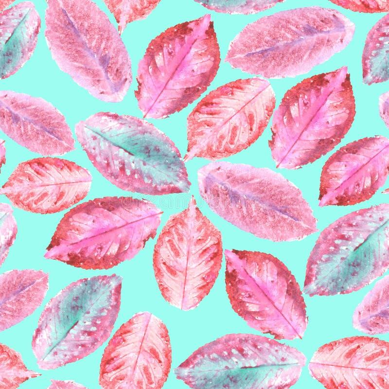 Wzór z akwareli jesieni purpurowymi liśćmi zdjęcia stock