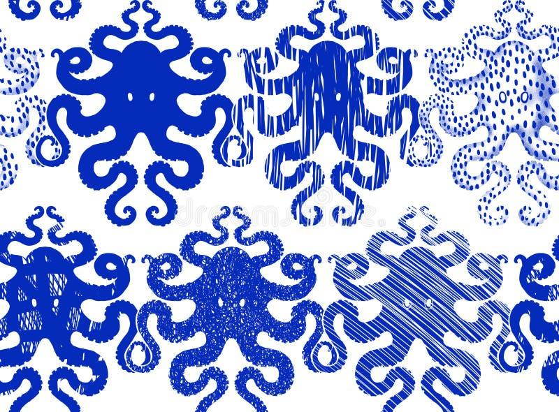Wzór z błękitną ośmiornicą royalty ilustracja