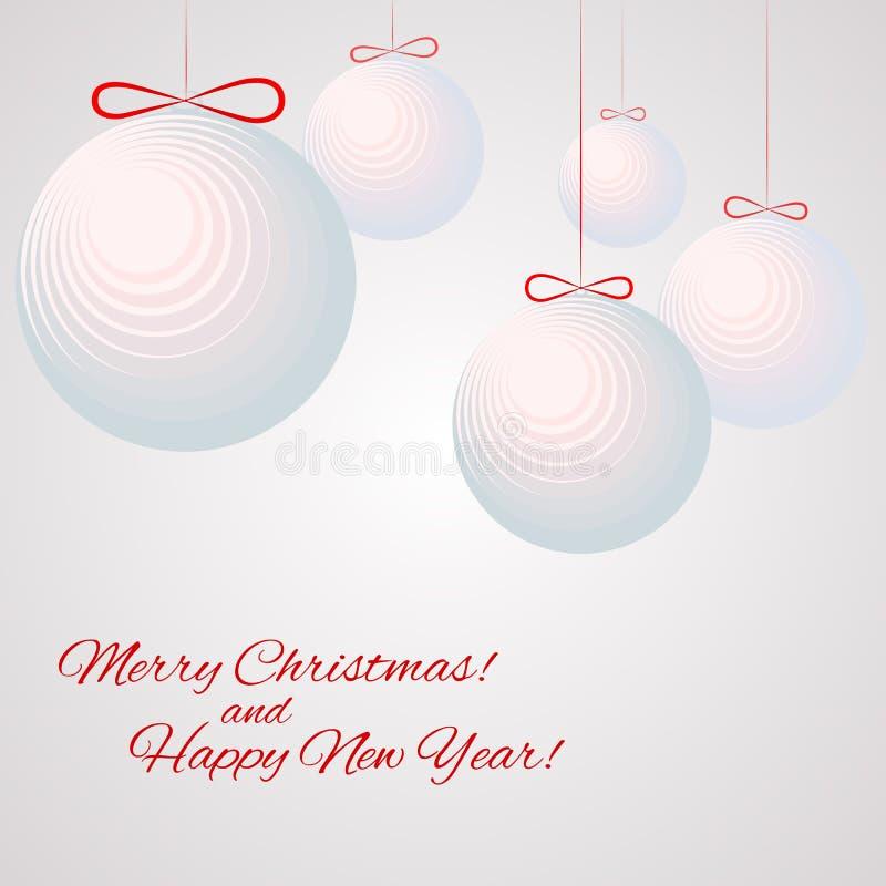Wzór z balonami z teksta hipisa nowego roku i Wesoło bożych narodzeń zimy tłem royalty ilustracja