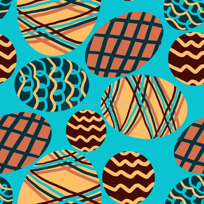 Wzór z barwionymi jajkami na błękitnym tle obraz stock