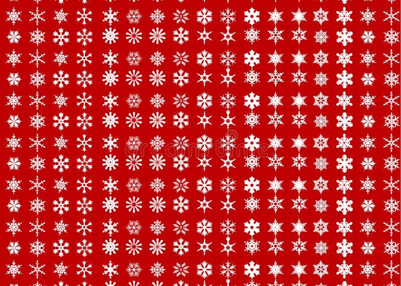 Wzór z białymi płatkami śniegu różni gatunki royalty ilustracja