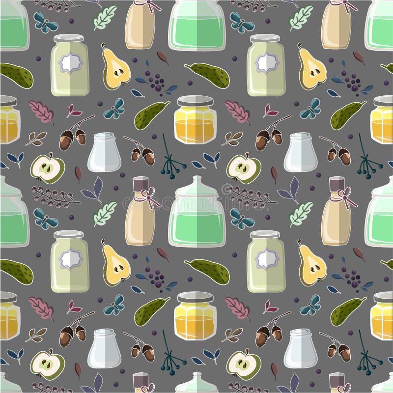 Wzór z butelką, warzywami i owoc, ilustracji