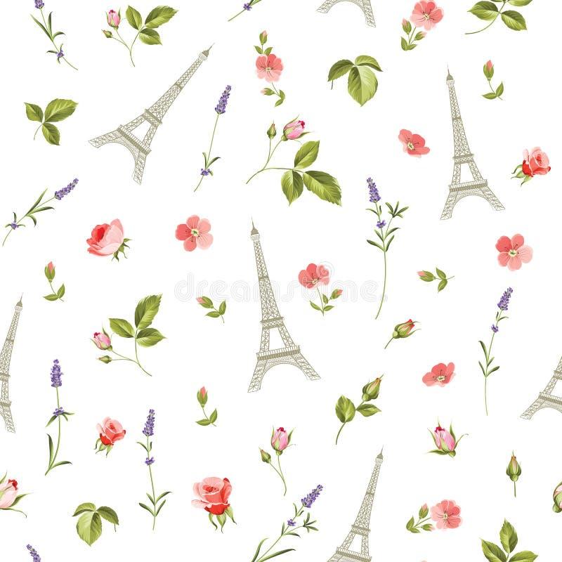 Wzór z czerwonymi kwiatami royalty ilustracja