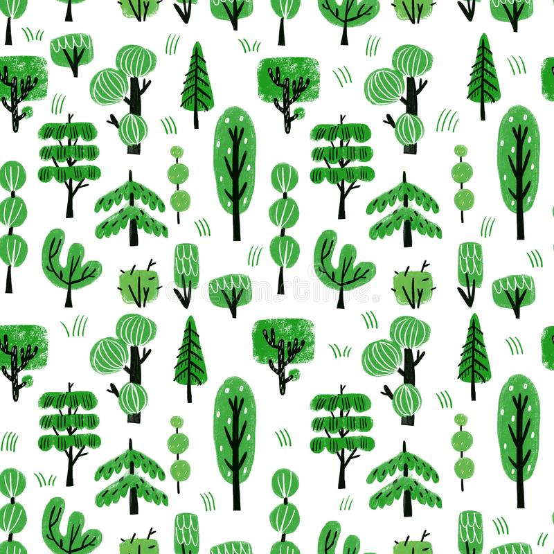Wzór z drzewami royalty ilustracja