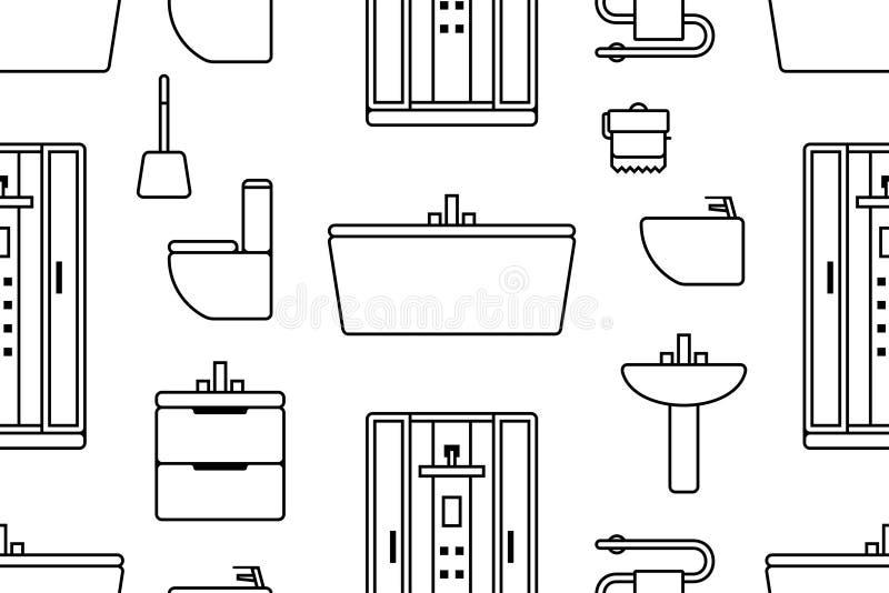 Wzór z elementami dla łazienki ilustracja wektor