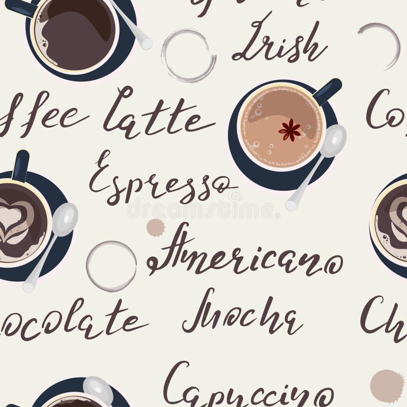 Wzór z filiżanką kawy ilustracja wektor