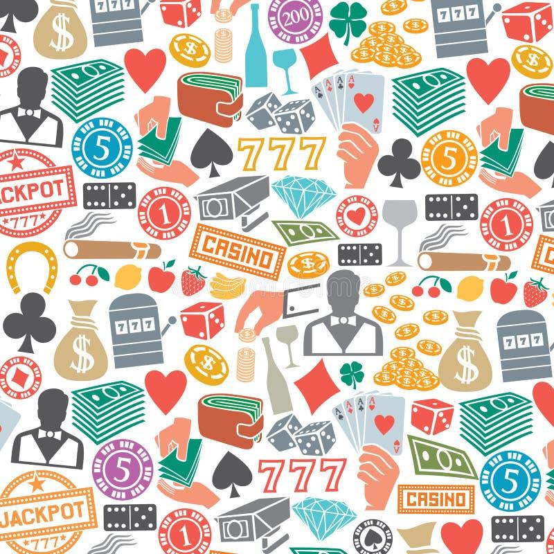 Wzór z kasynem lub uprawiać hazard ikonami ilustracja wektor