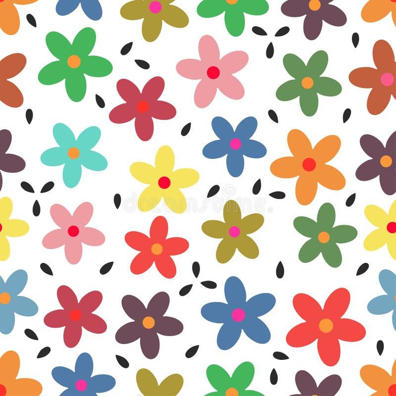 Wzór z kolorowymi kwiatami ilustracji