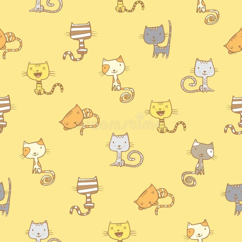 Wzór z kotami royalty ilustracja