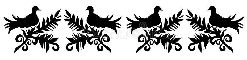 Wzór z kwiatami i ptakami ilustracji
