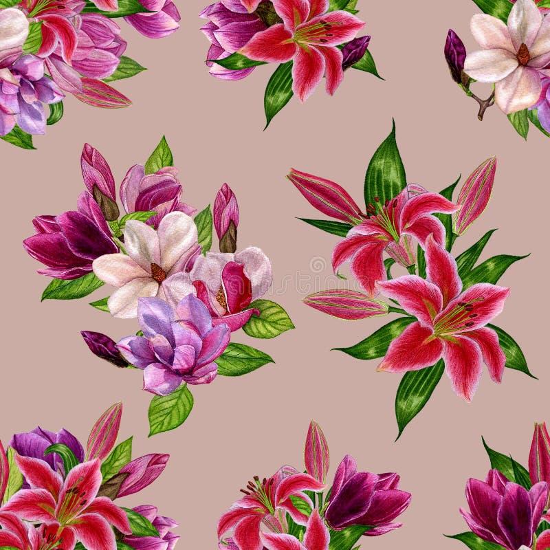 Wzór z kwiatami magnolia i leluje na barwionym tle Akwarela handmade kwiaty ilustracja wektor