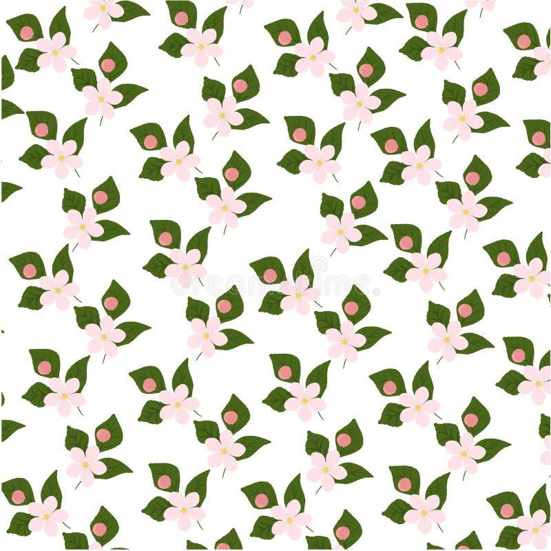 Wzór z kwiatonośnymi gałąź na zielonym tle Niekończący się tekstury dekoracja z białymi kwiatami i lataniem royalty ilustracja