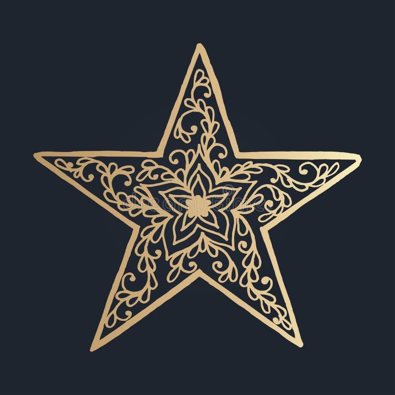 wzór z kwiecistym koronkowym ornamentem dla Bożenarodzeniowej kolekci ilustracja wektor