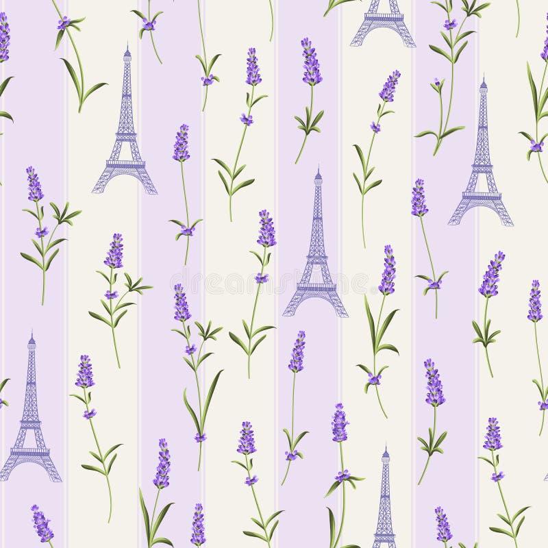 Wzór z lawendowymi kwiatami royalty ilustracja