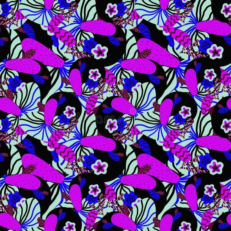 Wzór z menchiami i błękitnymi tropikalnymi kwiatami fotografia stock