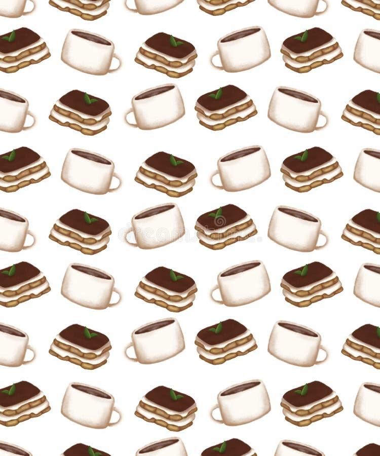 Wzór z obrazem filiżanki kawy i deseru ilustracji