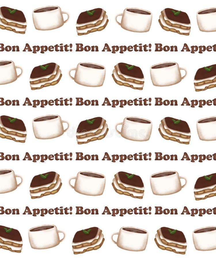 Wzór z obrazem filiżanki kawy i deseru na tle ilustracji