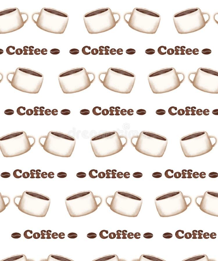 Wzór z obrazem filiżanki kawy i ziaren kawy ilustracji