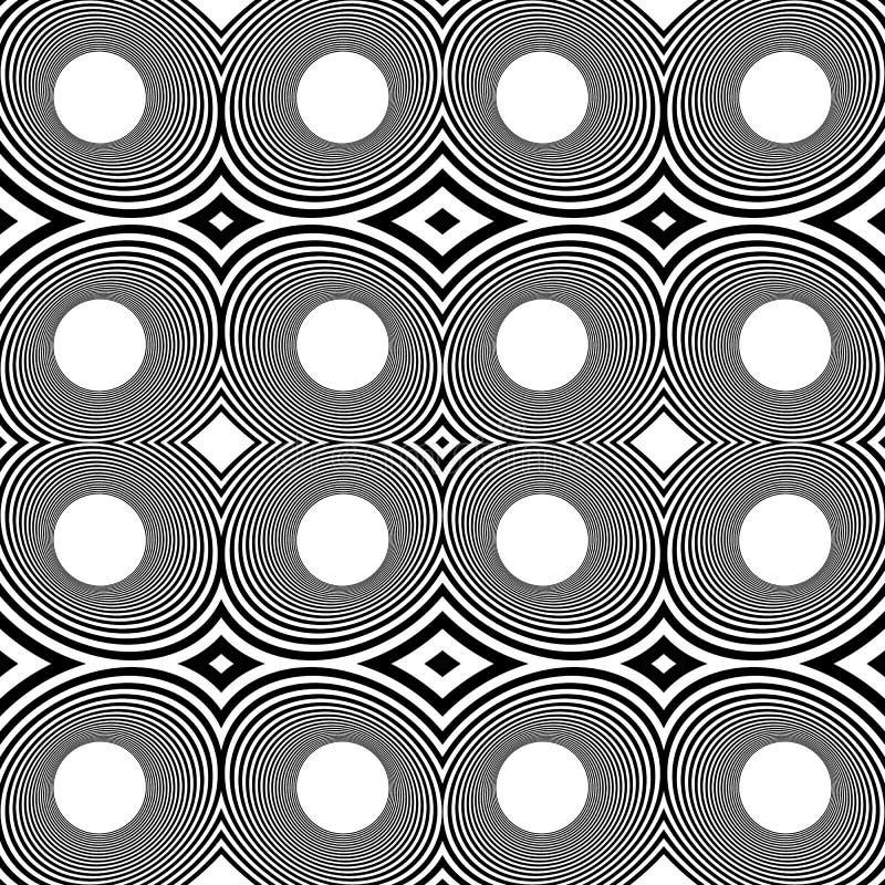 Wzór z odzwierciedlającymi owalami, elipsy, abstrakcjonistyczny powtarzalny czerń ilustracja wektor