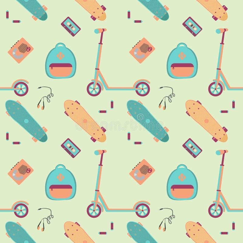 Wzór z pchnięcie hulajnoga, kaseta graczem z taśmą, hełmofonami, bateriami i klingerytem, jeździć na deskorolce royalty ilustracja