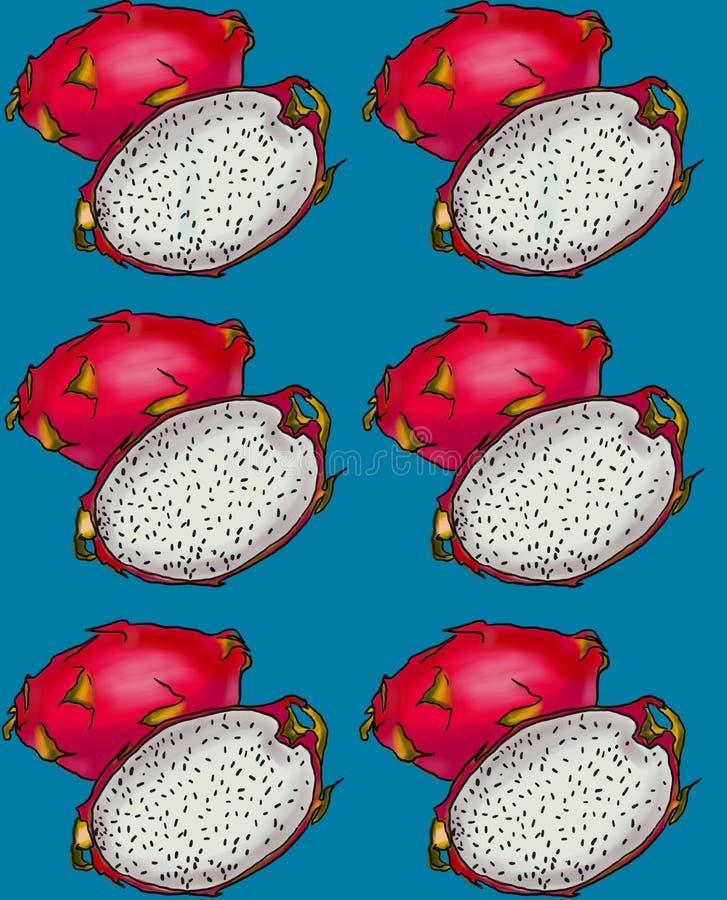 Wzór z pitahaya owoc na błękitnym tle ilustracji
