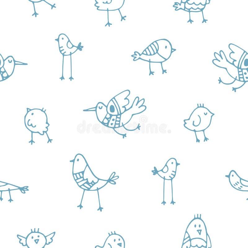Wzór z ptakami royalty ilustracja