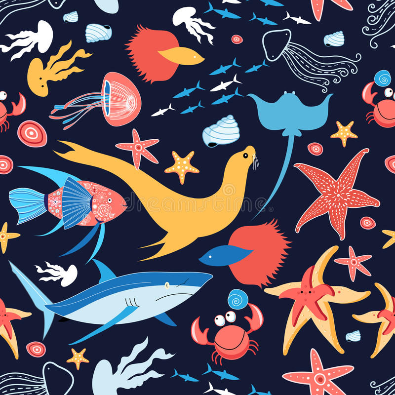 Wzór z stingray i ryba ilustracji