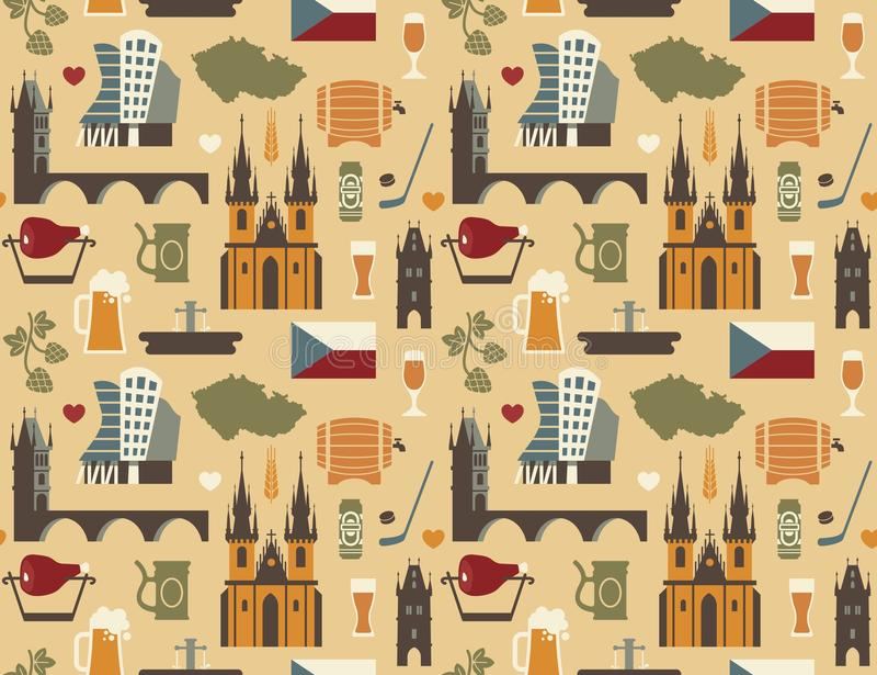 Wzór z symbolami republika czech ilustracji