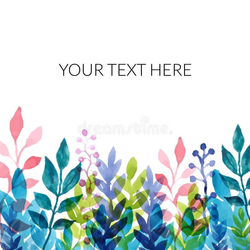 Wzór z wektorowymi akwarela kwiatami, roślinami i bukiet r?? ilustracyjne dekoracji kwieciste wektorowe Jesieni karta, plakat, pr royalty ilustracja