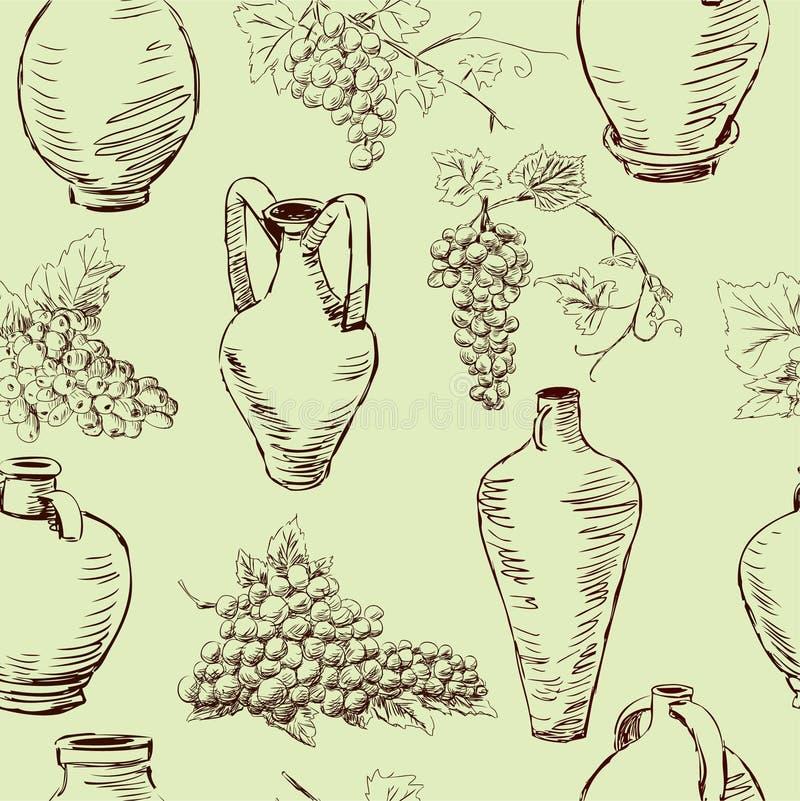 Wzór z winogronem i dzbankami royalty ilustracja