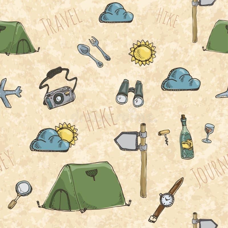Wzór z wyprawa namiotami ilustracji