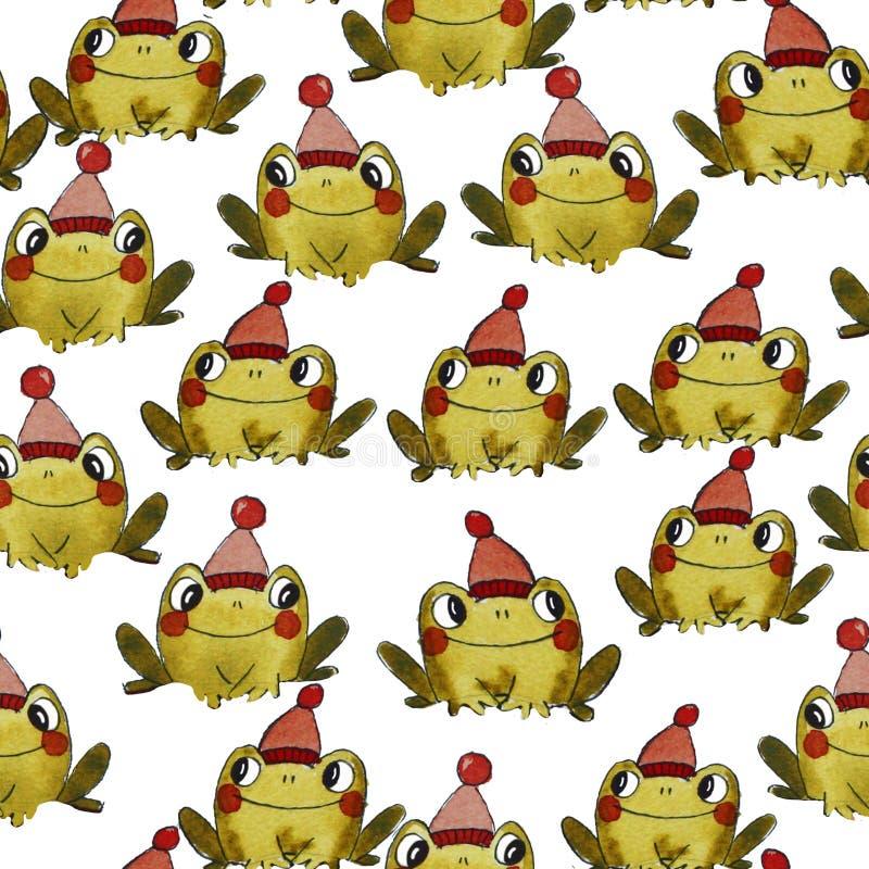 Wzór z zielonymi żabami zdjęcie royalty free