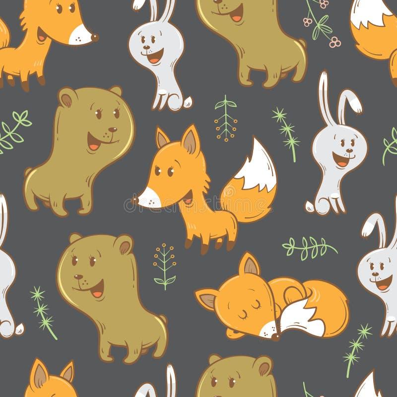 Wzór z zwierzętami royalty ilustracja