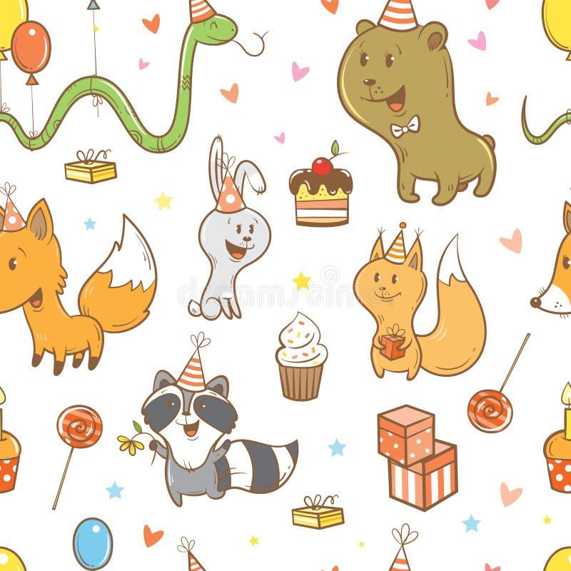 Wzór z zwierzętami ilustracja wektor
