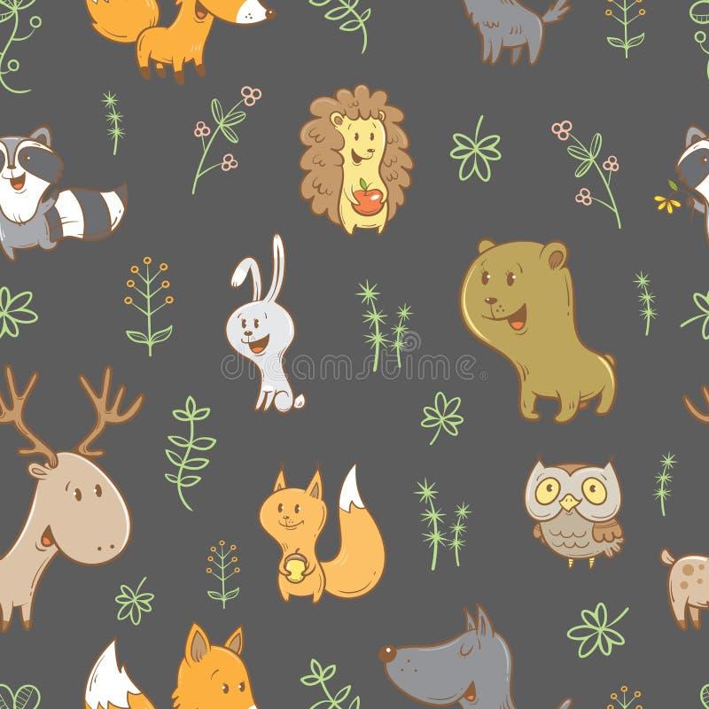 Wzór z zwierzętami ilustracji