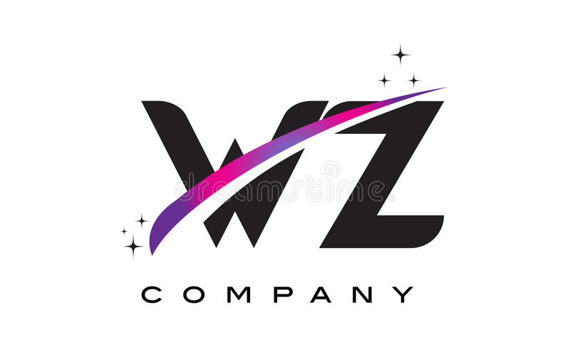 Download WZ W Z Black Letter Logo Design With Purple Magenta Swoosh Stock Vector