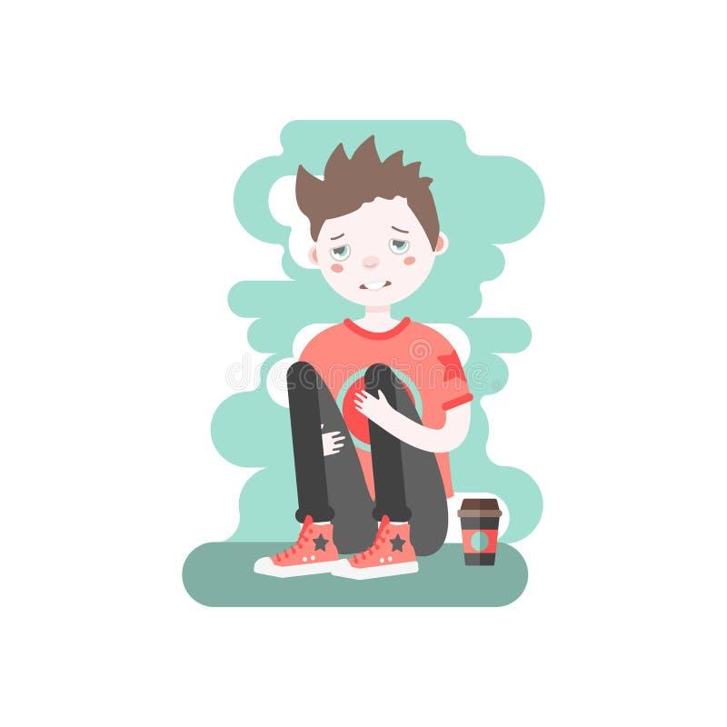 Wzburzona caucasian brown z włosami chłopiec z papierowym filiżanki kawy obsiadaniem, przytuleniem i jego kolana ilustracji