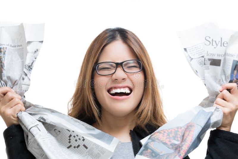 Wzburzona kobieta pracująca fotografia stock