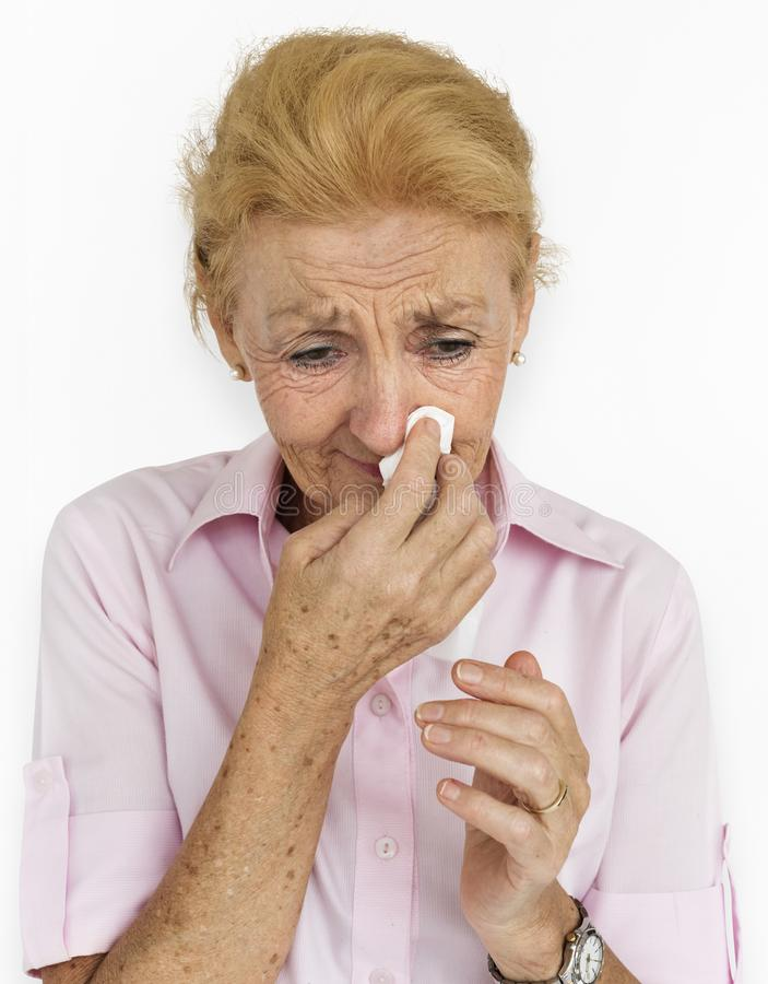 Wzburzonej płacz depresji kobiety Starszy pojęcie zdjęcie stock