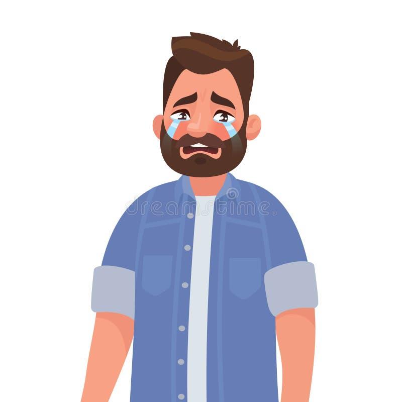 Wzburzony mężczyzny płacz Ansa i ból również zwrócić corel ilustracji wektora ilustracja wektor