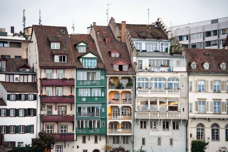 wzdłuż Basel houseses Rhine rzeki nabrzeża fotografia stock
