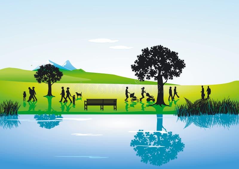 wzdłuż krajobrazowej rzeki ilustracja wektor