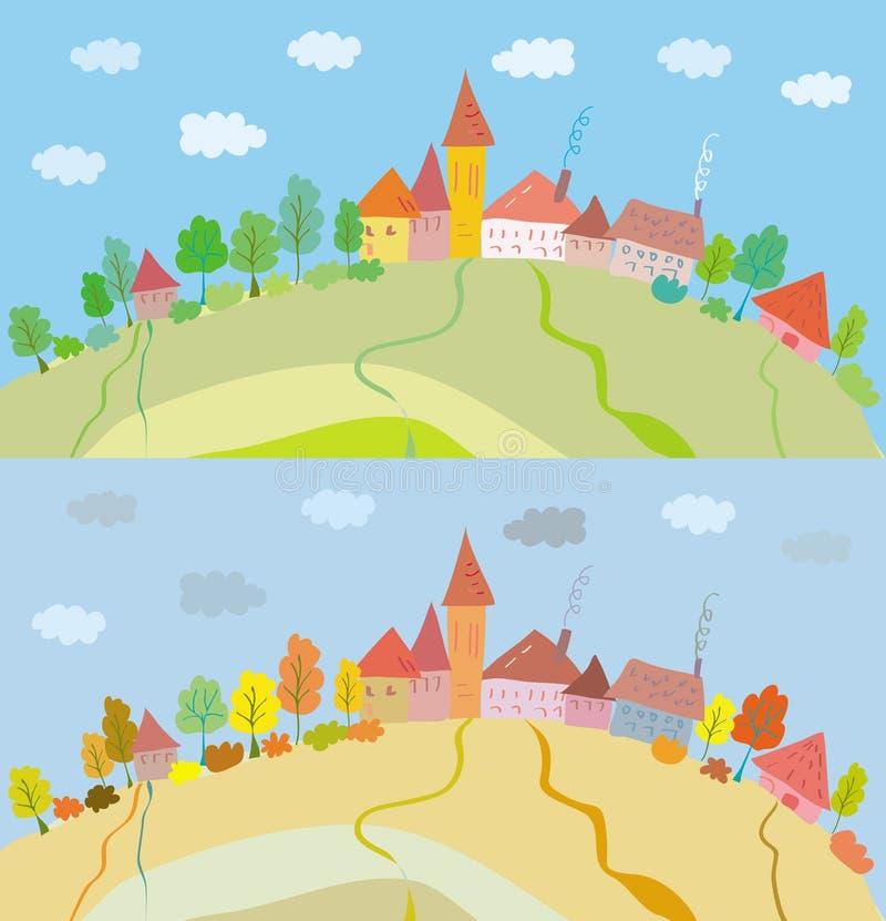 Download Wzgórza domów krajobraz ilustracja wektor. Ilustracja złożonej z horyzont - 13325192
