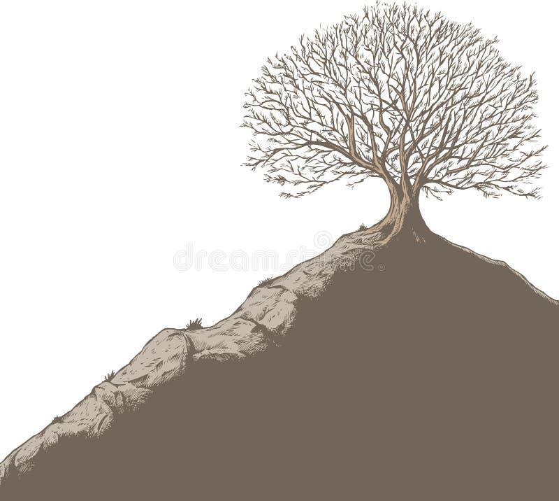 wzgórza drzewo royalty ilustracja