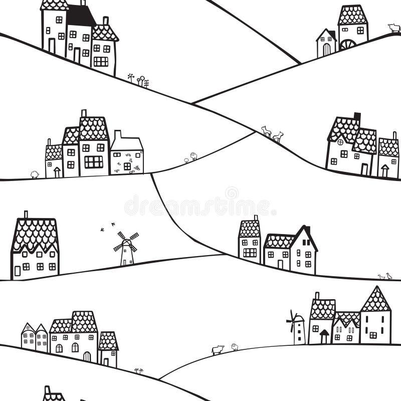 Wzgórza i domy ilustracja wektor