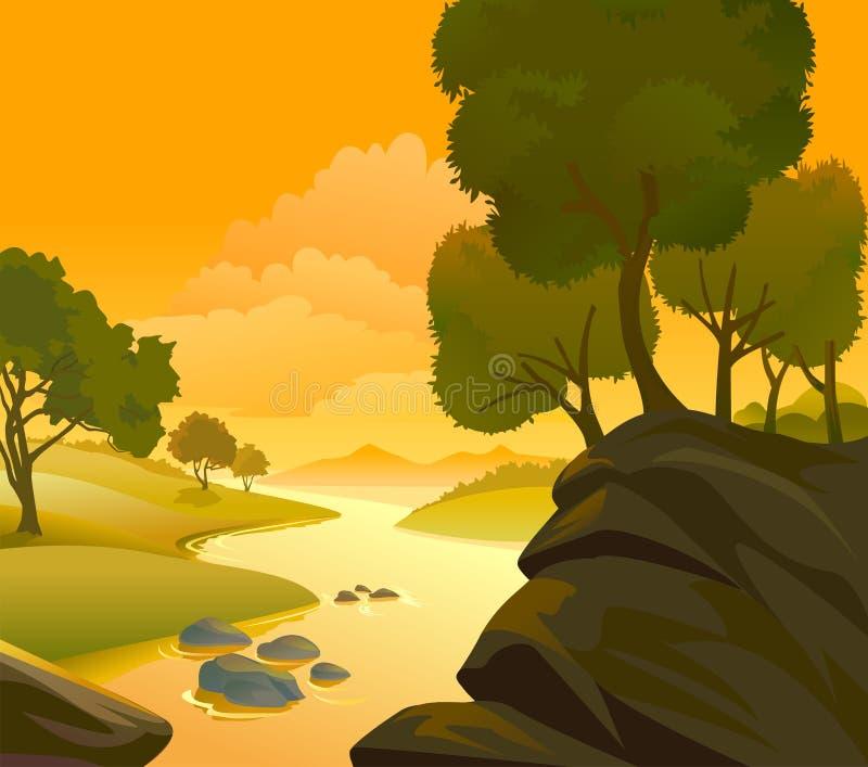 wzgórza kształtują teren rzeczne skały ilustracji