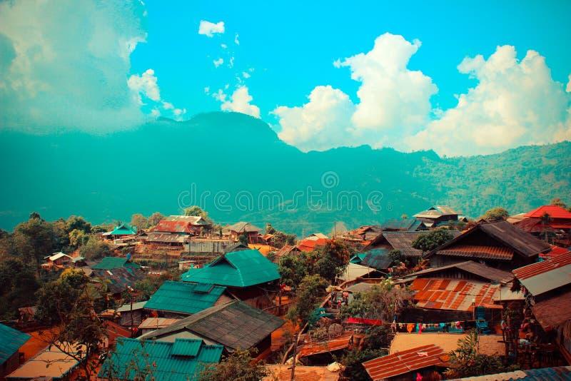 Wzgórza plemienia wioska w Thailand obraz royalty free