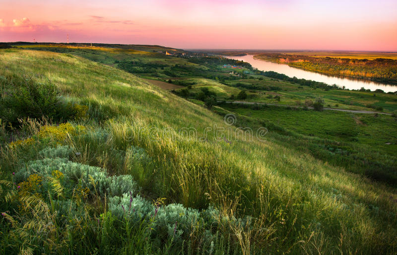 Wzgórza zakrywający z stepowymi ziele na brzeg rzeki obraz royalty free