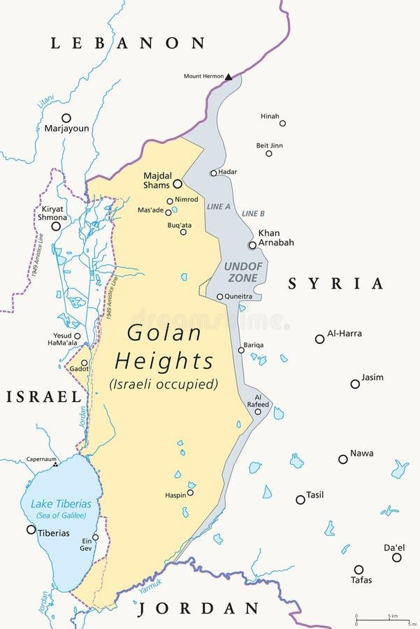 Wzgórze Golan politycznej mapy ilustracji