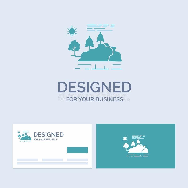 wzgórze, krajobraz, natura, góra, podeszczowy Biznesowy logo glifu ikony symbol dla twój biznesu Turkusowe wizyt?wki z gatunkiem ilustracji